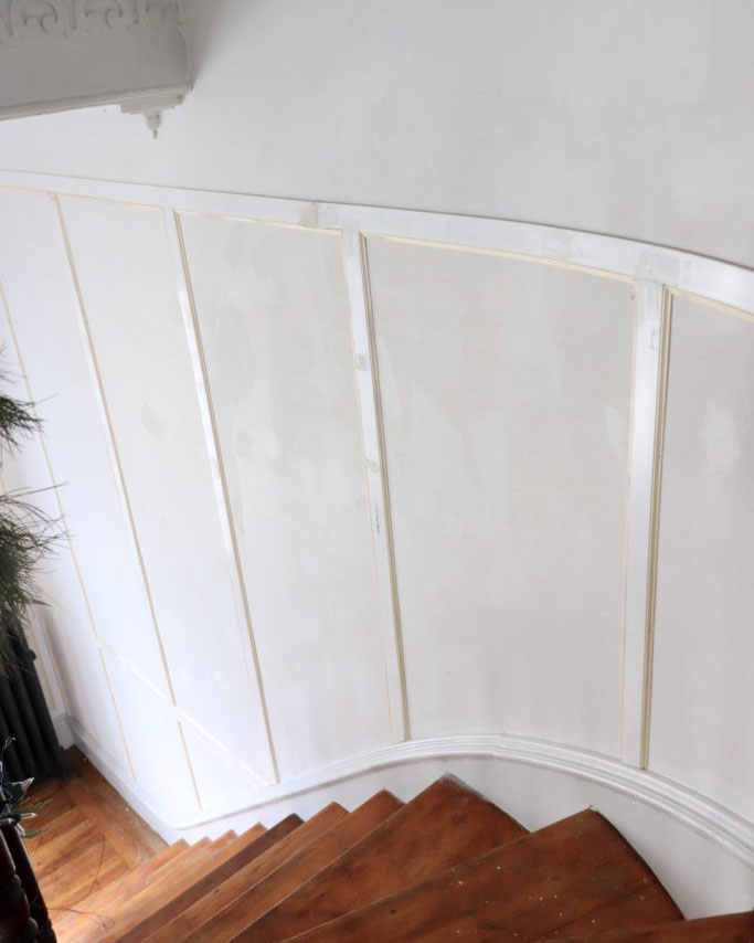 staircase with trim used as an accent