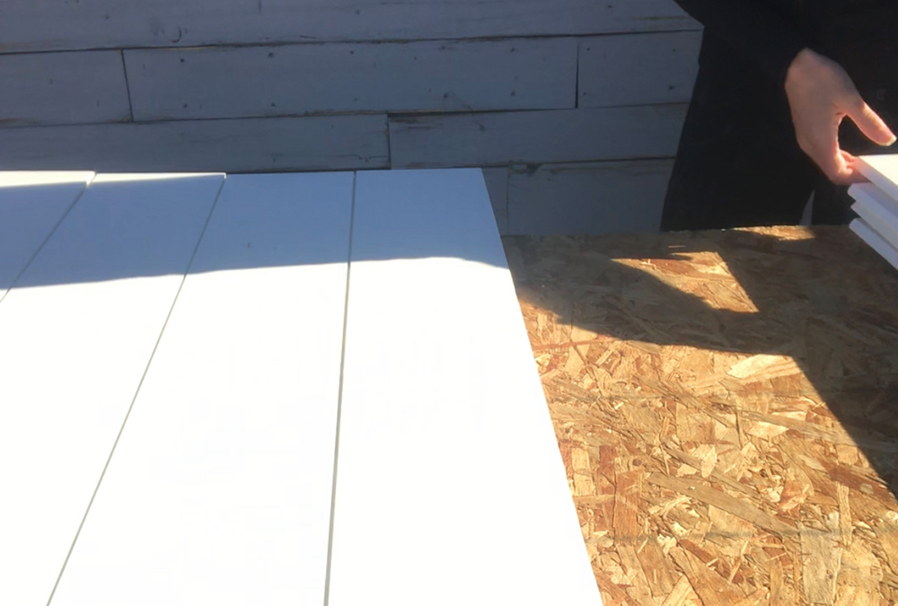 shiplap pieces assembled on a table